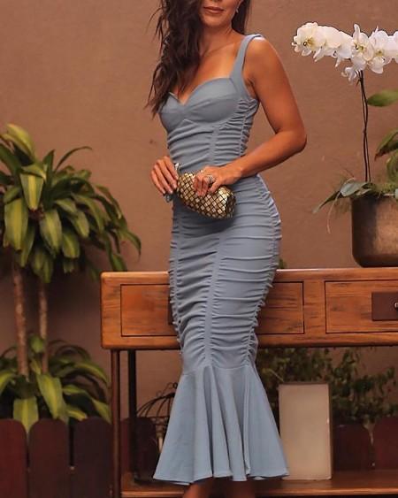 Thin Strap Ruched Design Fishtail Hem Dress