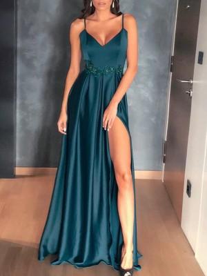 Applique Lace Detail Thigh Slit Prom Gowns Dress