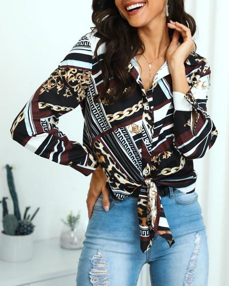 boutiquefeel / Mixed Chain Print Knot Front Blouse