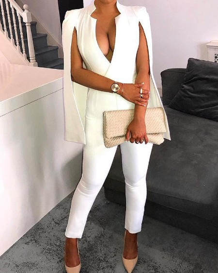 Fashion Solid Deep V Cape White Jumpsuit