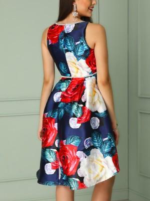 Glittering Sheer Mesh Insert Floral Print Mini Dress