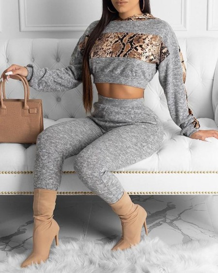 Snakeskin Patchwork Long Sleeve Top & Pant Sets