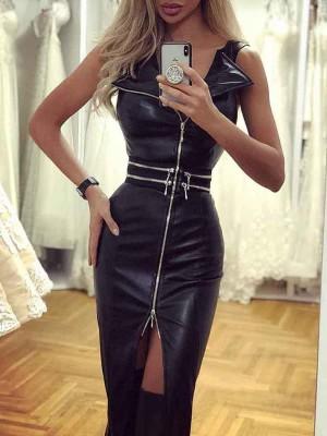 Zipper Design Slit PU Dress