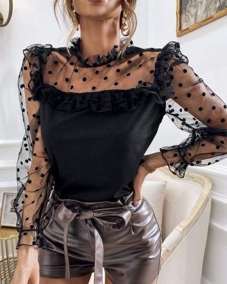 Dot Mesh Ruffles Long Sleeve Top