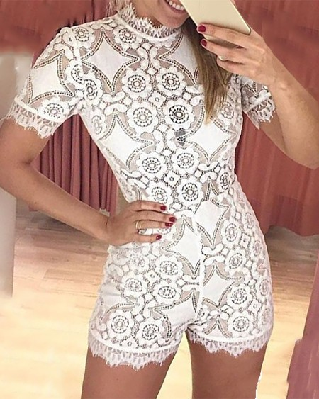 Eyelash Lace Short Sleeve Backless Rompers