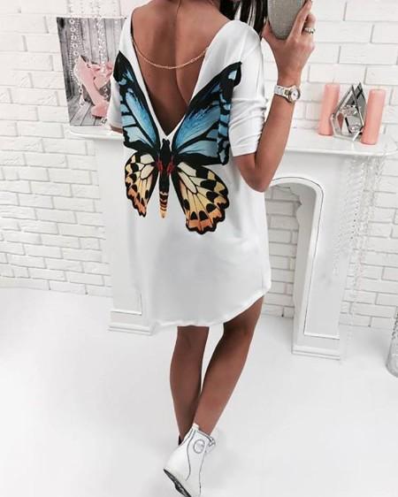 High-Low Butterfly Print V Back T-shirt