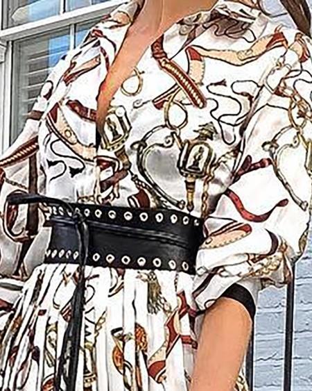 Chains Print Pleated Maxi Dress