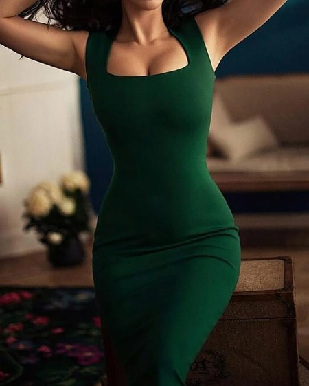 Square Neck Thick Strap Bodycon Dress