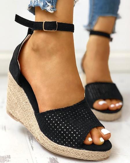 Ankle Strap Espadrille Wedge Sandals