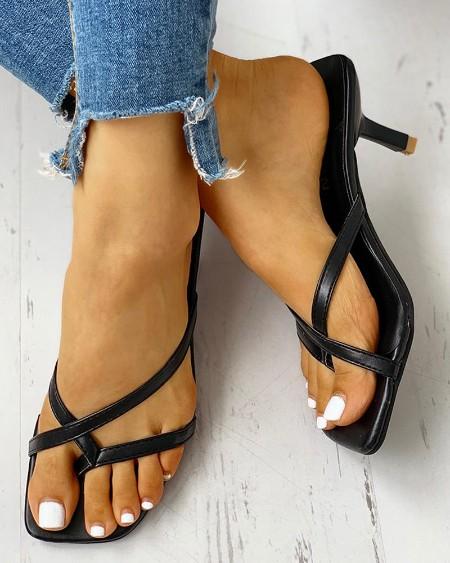 boutiquefeel / Toe Post Multi-strap Slingback Thin Heeled Slipper Sandals