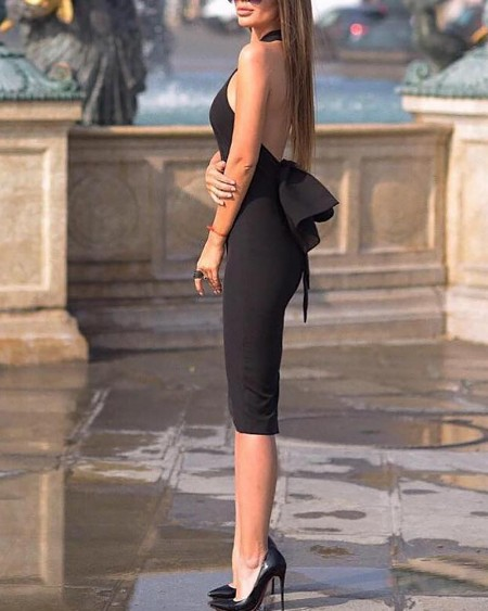 Halter Bowknot Design Back Midi Dress