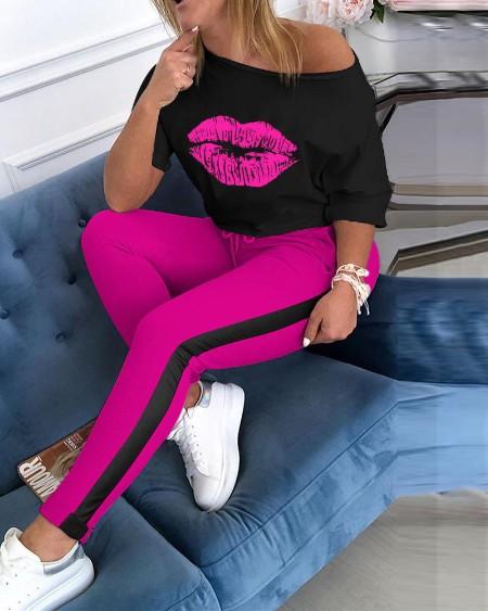 Lip Print Top & Colorblock Striped Pant Sets
