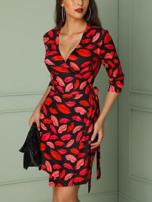 V-Neck Wrap Lip Print Casual Dress