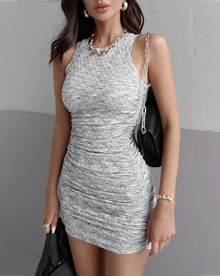 Solid Ruched Sleeveless Bodycon Dress