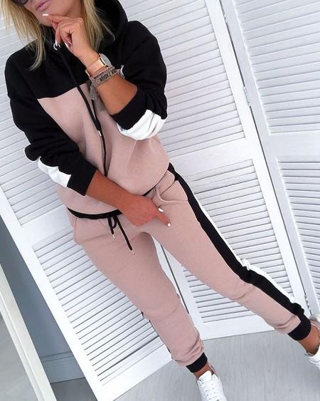 Colorblock Drawsting Design Hooded Top & Slinky Pant Sets