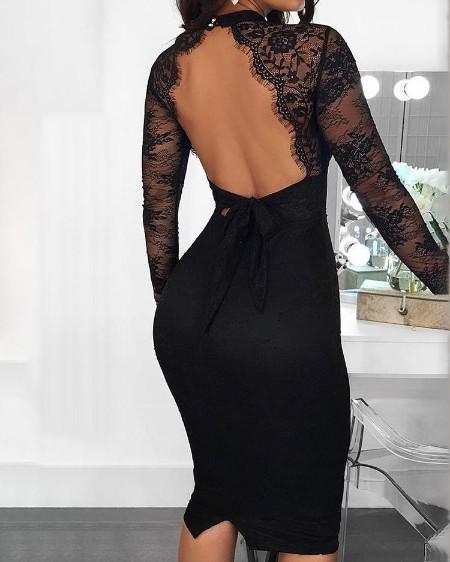 Cut Out Detail Eyelash Lace Insert Backless Dress