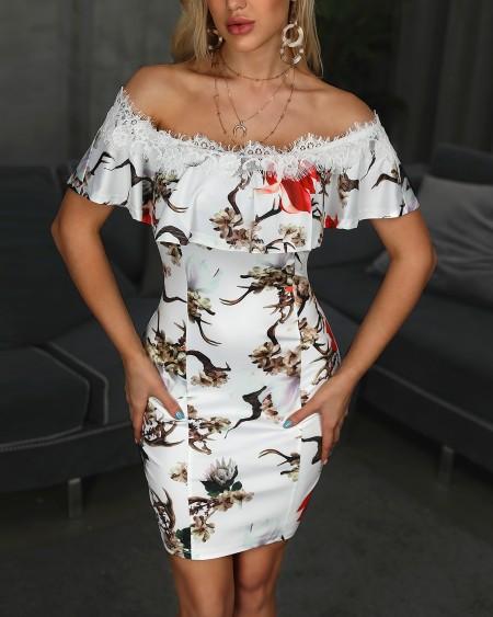 Off Shoulder Eyelash Lace Print Bodycon Dress