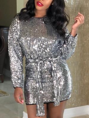 Sequins Binding Long Sleeve Belted Mini Dress