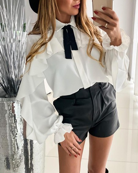 Solid Tie Neck Ruffle Detail Top