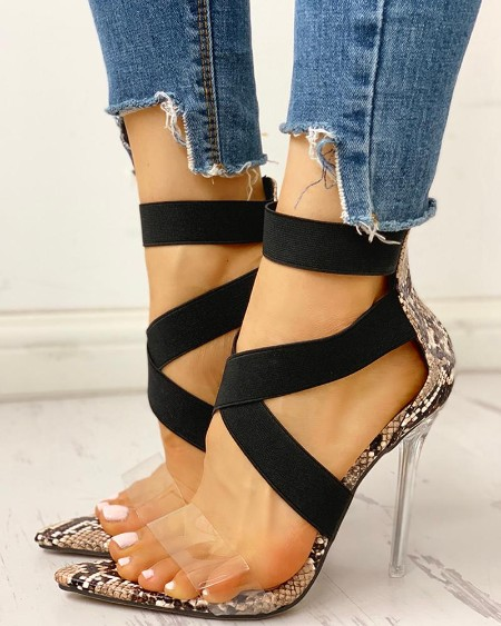 Transparent Crisscross Bandage Thin Heeled Sandals
