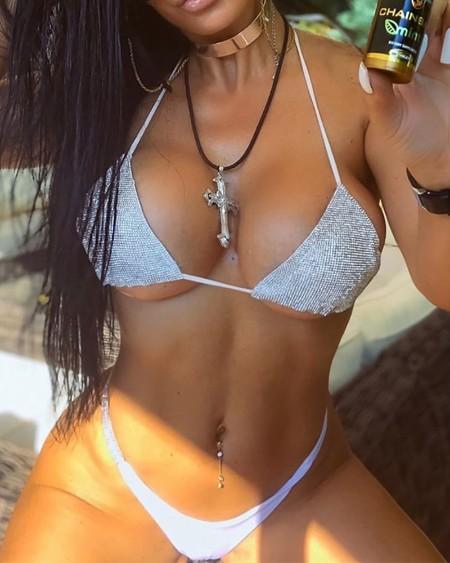 Sequins Halter Tanga Bikini Set