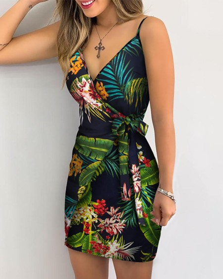 Tropical Print V-Neck Wrap Casual Dress