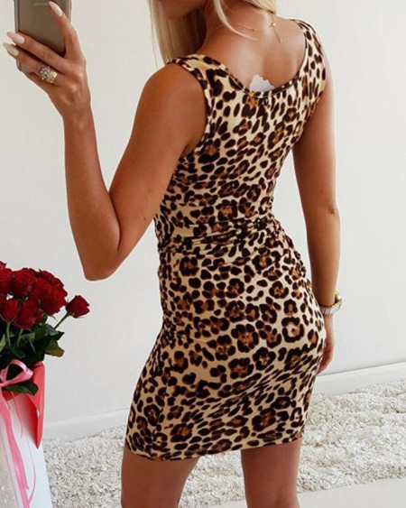 Square Neck Leopard Bodycon Dress