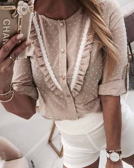 Lace Trim Frill Hem Casual Blouse