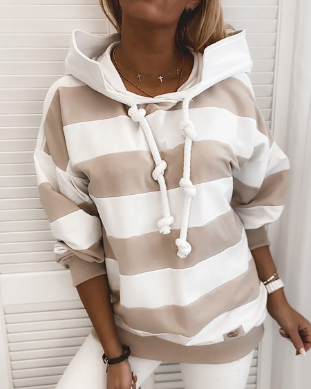 Striped Tape Colorblock Hooded Sweatshirt