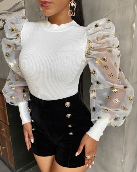 Puffed Sleeve Sheer Mesh Sweater