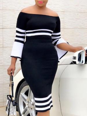 Contrast Stripes Slit Flared Sleeve Bodycon Dress