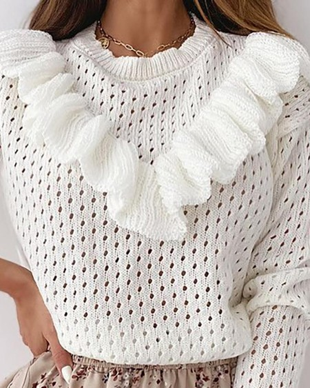Plain Hollow Out Ruffles Long Sleeve Sweater