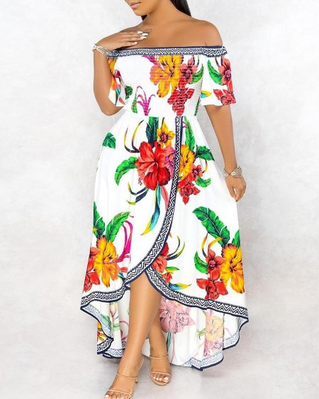 Off Shoulder Floral / Leaf Print Ruched Dip Hem Maxi Dress