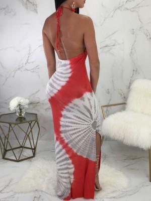 Tie Dye Side Split Halter Maxi Dress