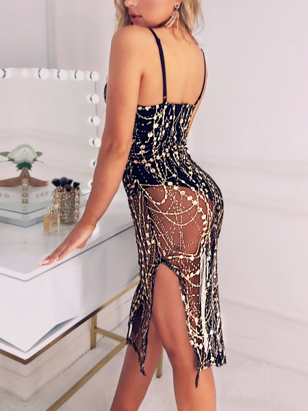 Spaghetti Strap Side Slit Sequin Party Dress