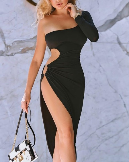 One Shoulder Cutout Thigh Slit Bodycon Dress