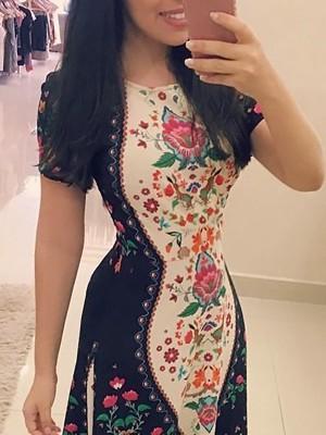 Retro Floral Print Short Sleeve Maxi Dress