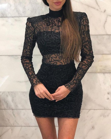 High Neck Lace Detail Mini Dress