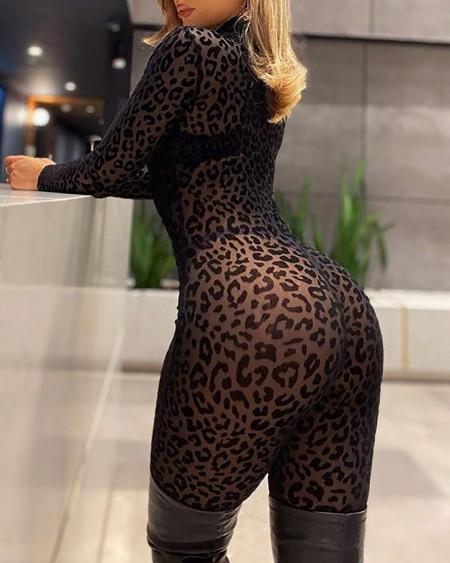 Leopard Print Long Sleeve Skinny Jumpsuit