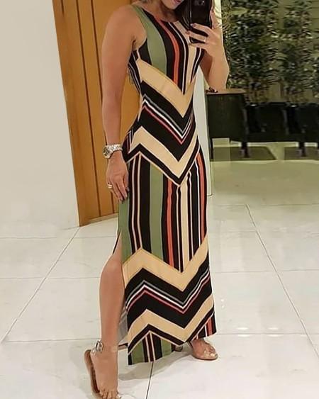 Colorful Striped Print Side Slit Maxi Dress