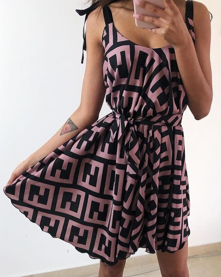 Geo Print Tied Strap Casual Dress