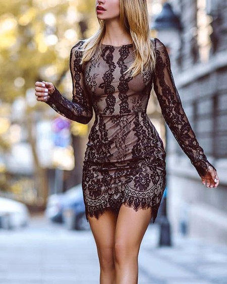 Sexy Bodycon Lace Detail Dress