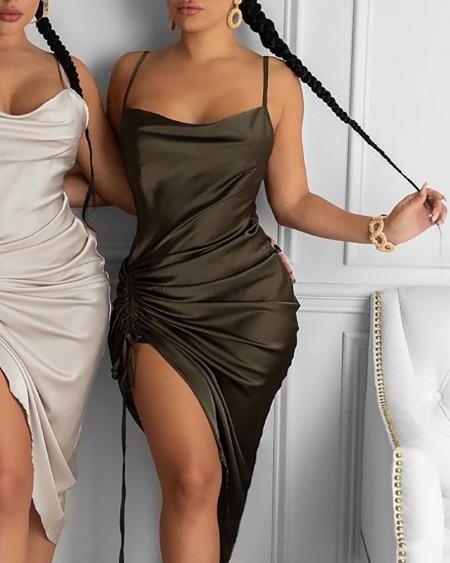 Ruched Drawstring Satin Bodycon Dress