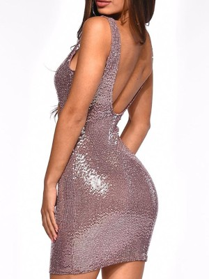 Thin Strap Cut Out Sequin Party Dress