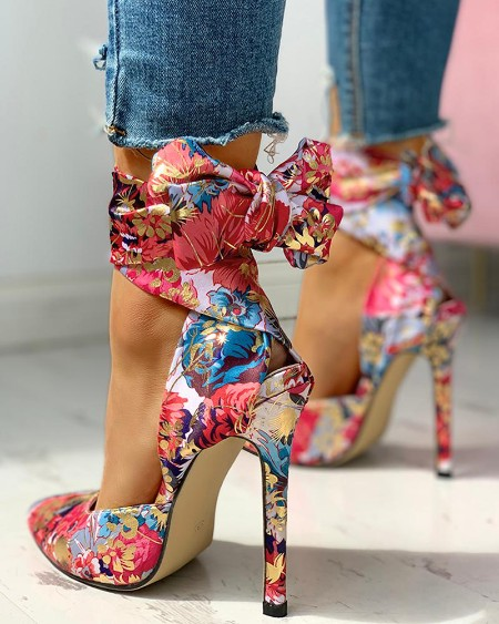 Floral Print Tied Ankle Thin Heels