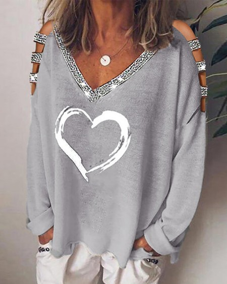 Heart Print Studded Long Sleeve Top