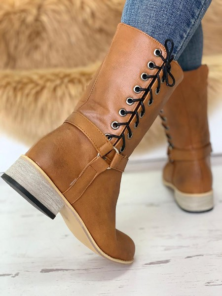 Eyelet Lace-Up Chunky Heeled PU Boots