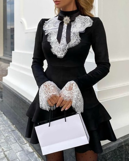 Eyelash Lace Bell Sleeve Ruffles Dress