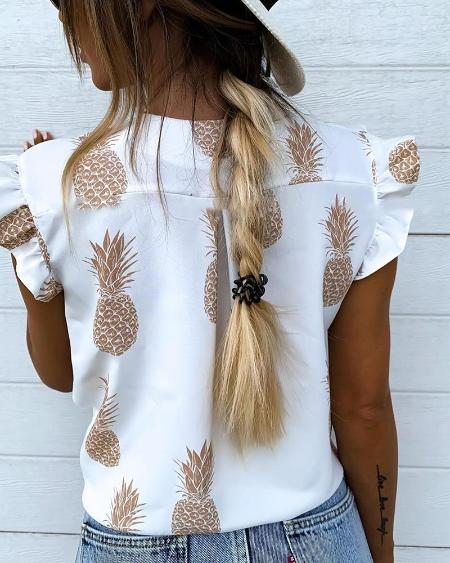 boutiquefeel / Pineapple Print Flutter Sleeve Casual Blouse