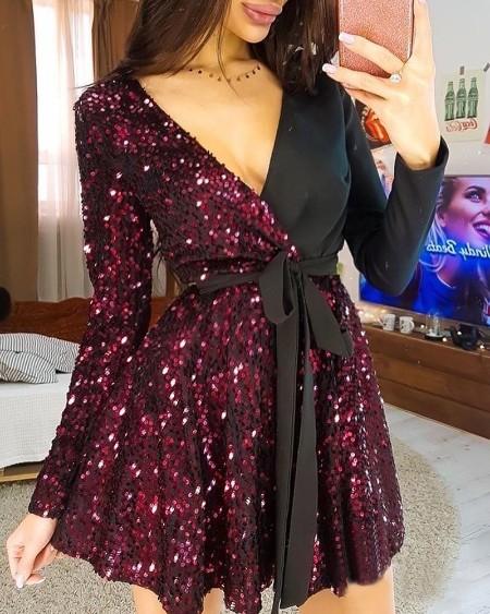 V-Neck Sequins Ruched Mini Dress